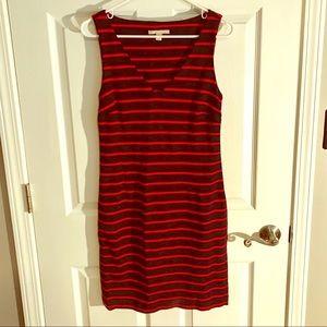Banana Republic red/navy striped sleeveless dress
